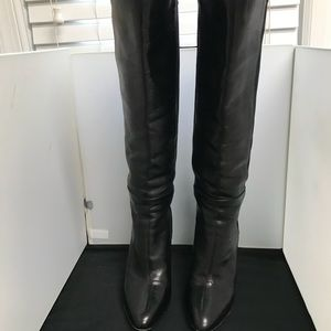 Jimmy Choo Black Leather Knee High Boots 39